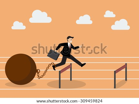 Businessman jumping over hurdle with the weight. Business concept - stock vector