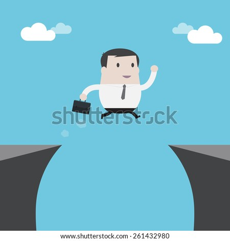 Businessman jumping over the cliff - Vector