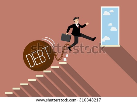 Businessman jumping to success with heavy debt. Business Concept