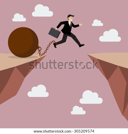 Businessman jumps the abyss with the weight. Business concept - stock vector