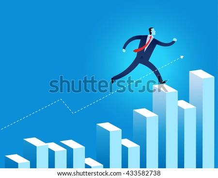 businessman junp over the financial graph vector illustration represent business growth - stock vector