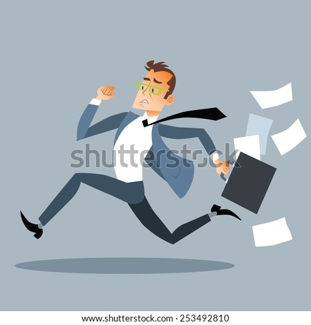 Businessman late for an appointment - stock vector