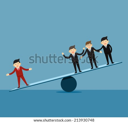 Businessman . Leader and teamwork. - stock vector