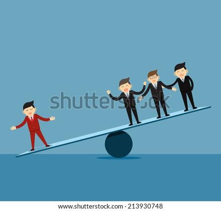 Businessman . Leader and teamwork. - stock vector