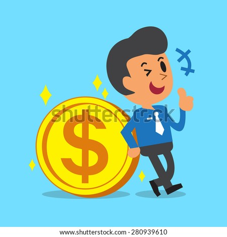 Businessman Leaning Against A Big Coin