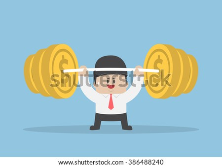 Businessman lifting up barbell with coin weight, financial strength concept, VECTOR, EPS10 - stock vector