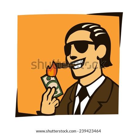 businessman lights a cigar with dollar - stock vector