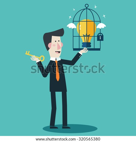 Businessman locks an idea in a cage. Businessman frees an idea from a cage. Business idea, development and strategy concept. New business project start up concept. Modern flat design - stock vector