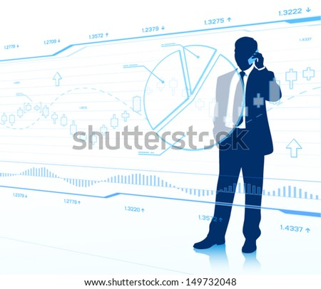 Businessman looking at touch screen (EPS10 vector) - stock vector