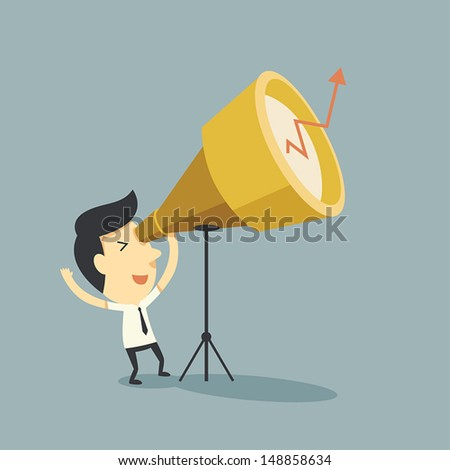 Businessman looking for the future - stock vector