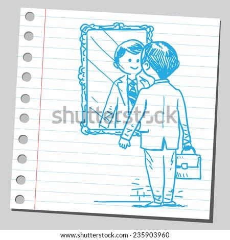 Businessman looking himself in mirror - stock vector