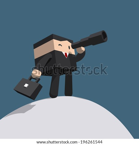 Businessman looking in telescope standing atop of mountain, Black suit with red necktie, Minimal stylized cartoon vector EPS10 - stock vector