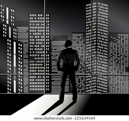 Businessman  looking out the office window at night city. Vector eps 10 - stock vector