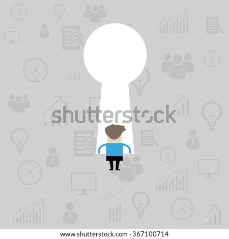 businessman looking through key hole, business concept - stock vector