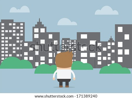 Businessman looking to silhouette city, VECTOR, EPS10 - stock vector