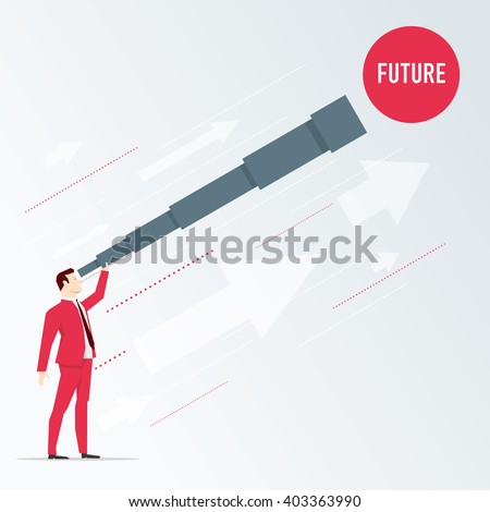Businessman looks future through a telescope. Vector business concept illustration. - stock vector