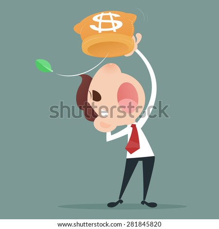 Businessman losing money from a bag - stock vector