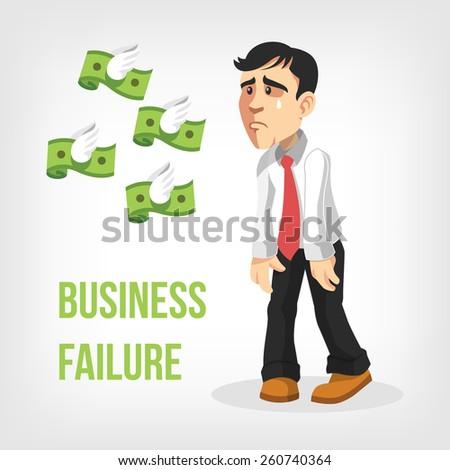 Businessman loss money. Vector flat illustration - stock vector
