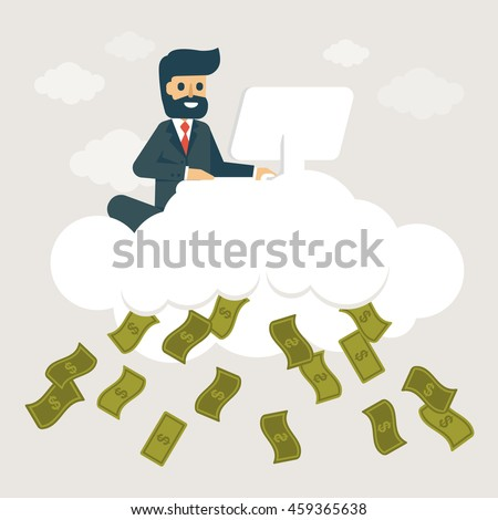 Businessman make money on cloud. Online business concept vector illustration.