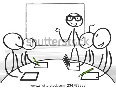 Businessman making a presentation at the office - stock vector