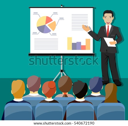 Businessman making presentation explaining charts. Business seminar. corporate training concepts. vector illustration in flat style