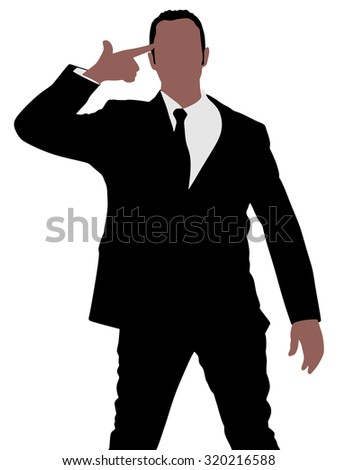 businessman making suicide gesture, vector  - stock vector