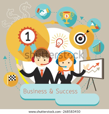 Businessman Male and Female Show Presentation with Icons, Flat Design of Business Marketing, Success and Achievement - stock vector