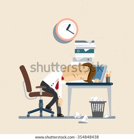 Businessman, manager, clerk, office woker. Manager fall asleep on a workplace. Illustration, vector EPS10. - stock vector