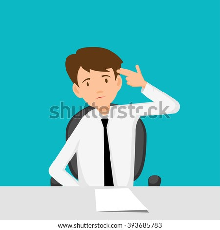 Businessman, manager, consultant at work. Hard day. Flat Design  Vector illustration.