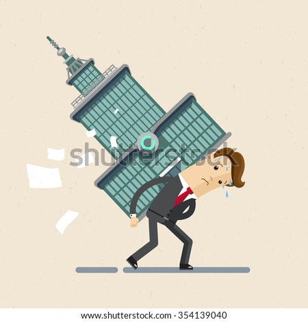 Businessman, manager. Manager in suit carries a large building or business center. Hard work. Illustration,  Vector EPS10. - stock vector
