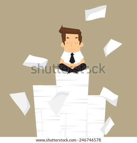 Businessman meditating in peace.vector - stock vector