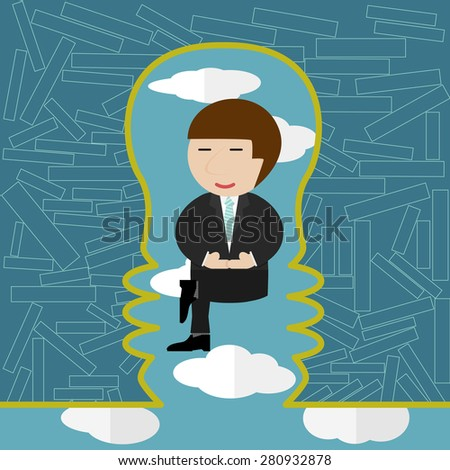 Businessman meditating in the sky.