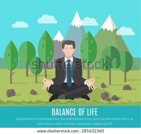 Businessman meditating in yoga pose outdoors. The concept of the balance of work and life. - stock vector