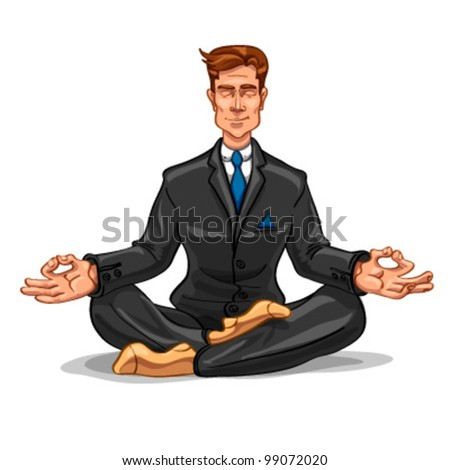 Businessman meditating on a white background - stock vector