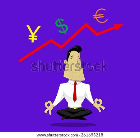 Businessman meditating on exchange rates - stock vector
