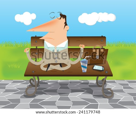 Businessman meditating on the street during lunch on a bench - stock vector