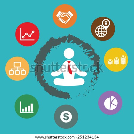 businessman meditation with business plan icons - stock vector