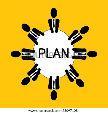 Businessman meeting for plan business on yellow background vector : business concept - stock vector