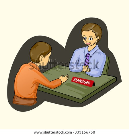 businessman meets with the manager cartoon illustration isolated - stock vector