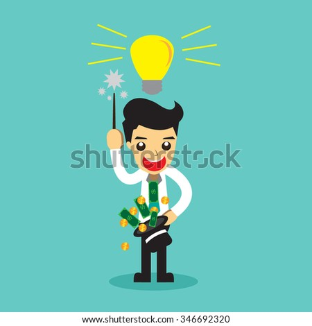 Businessman money out of the magic hat . vector