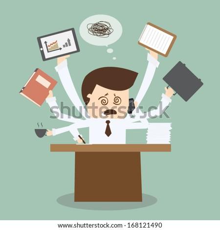 Businessman multitasking on table - stock vector