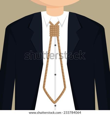 businessman necktie with rope.vector - stock vector