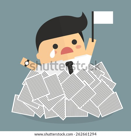 Businessman need help under a lot of white paper, flat design - stock vector
