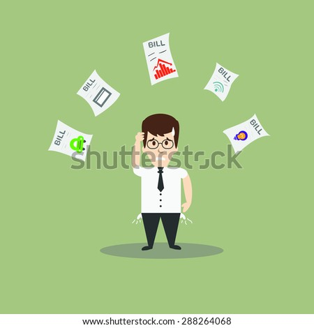 businessman no money for debt - stock vector