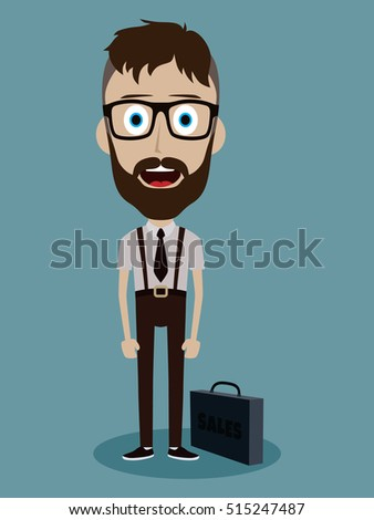 businessman office salesman guy funny cartoon character vector illustration