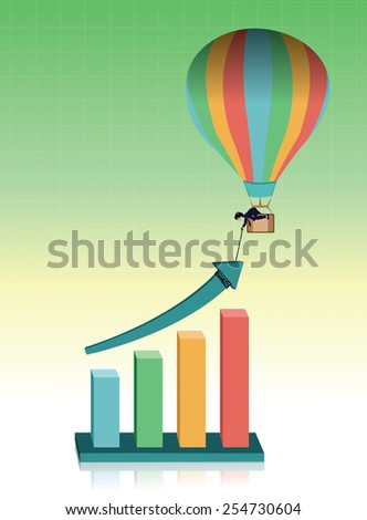 Businessman on a balloon giving hand to help the graph - stock vector