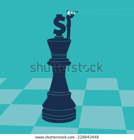 Businessman on a chess piece with spyglass and money sign. - stock vector