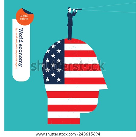Businessman on a head with American flag and spyglass. Vector illustration Eps10 file. Global colors. Text and Texture in separate layers. - stock vector