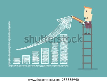 businessman on a ladder charting a positive trend graph illustration vector file eps 10