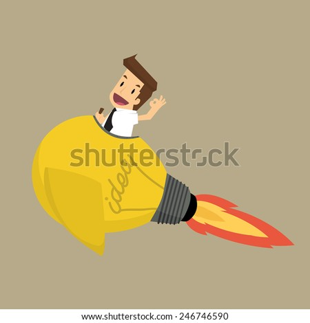 Businessman on a moving lightbulb idea rocket.vector - stock vector